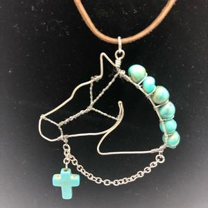 Jewelry - One of a kind Horse necklace with turquoise cross